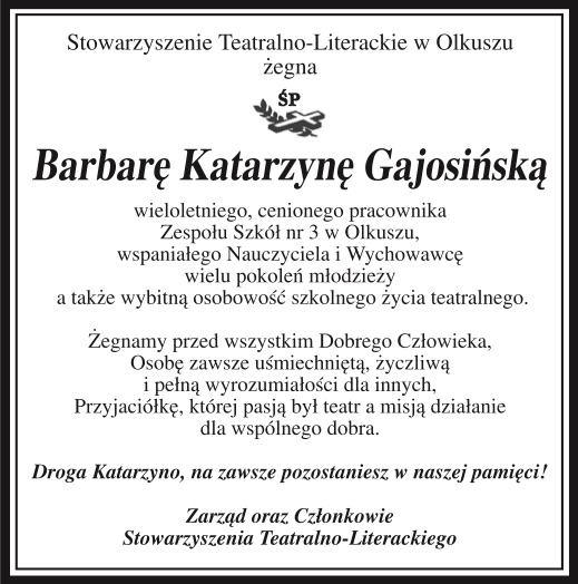 Nekrolog Barbary Katarzyny Gajosińskiej.